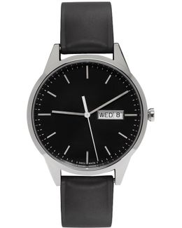 Silver & Black Rubber C40 Calendar Watch