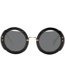 Black & Gold Oversized Round Sunglasses