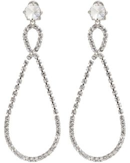 Silver Large Crystal Teardrop Earrings