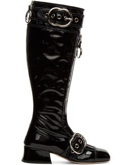 Black Patent Knee-high Boots