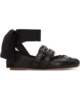 Black Double Buckle Ballerina Flats