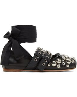 Black Studded Double Buckle Ballerina Flats
