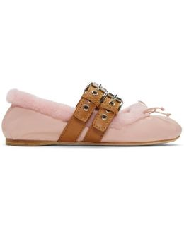 Pink Shearling Double Buckle Ballerina Flats