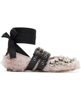 Pink Eco Shearling Double Buckle Ballerina Flats