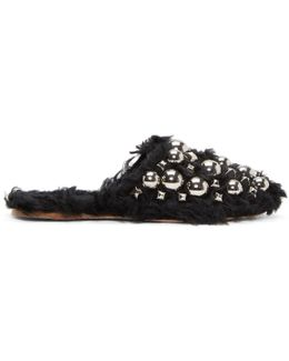 Black Eco Shearling Studded Mules