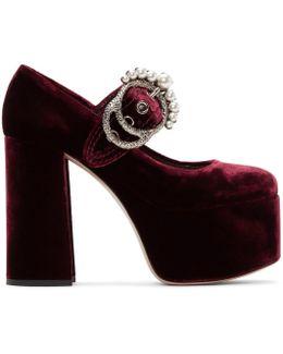 Burgundy Velvet Platform Mary Jane Heels