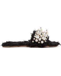 Black Eco Shearling Pearl Slides