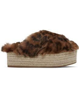 Brown Leopard Fur Cross Sandals