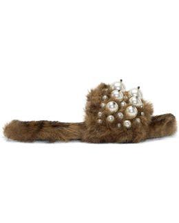 Brown Leopard Fur Pearl Slides