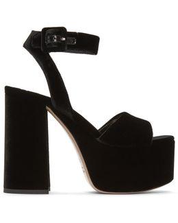 Black Velvet Platform Sandals