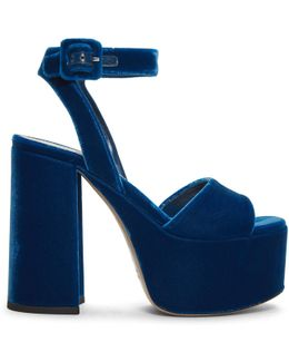 Blue Velvet Platform Sandals