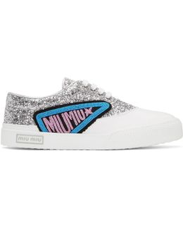 Silver Glitter Patch Sneakers