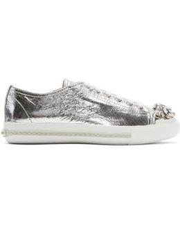 Silver Bejewelled Metallic Sneakers