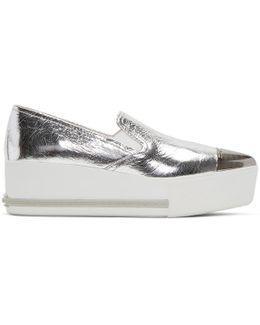 Silver Pointed Slip-on Sneakers