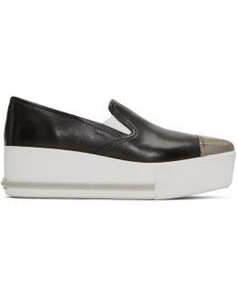 Black Platform Slip-on Sneakers