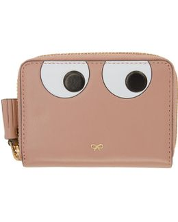 Pink Small Eyes Zip Around Wallet