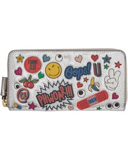 Silver All-over Stickers Zip Around Wallet