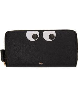 Black Large Eyes Zip Around Wallet