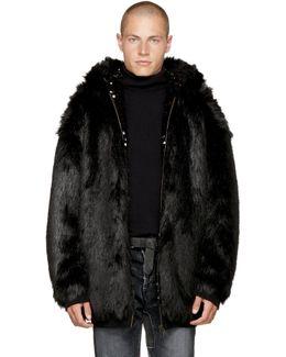 Reversible Black Faux-fur Hoodie