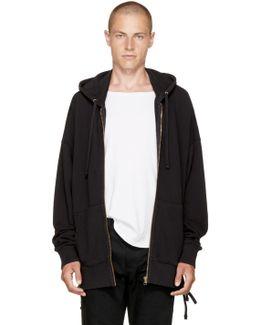 Black Laced Zip Hoodie