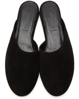 Black Suede Asymmetric Round Toe Mules