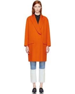 Orange Collarless Schiller Coat