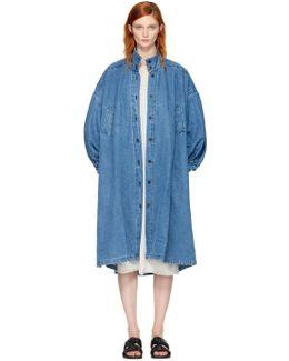 Blue Denim Pleated Coat