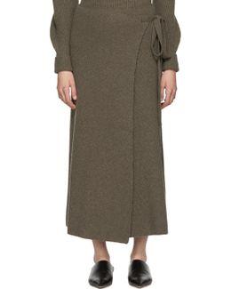 Brown Wool Wrap Skirt