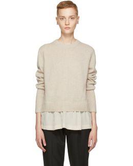 Beige Wool Layered Sweater