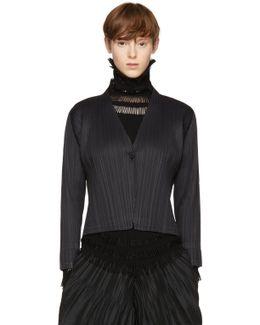 Black Clay Pleats Jacket