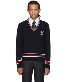 Navy Logo V-neck Sweater