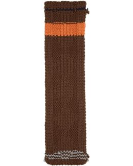 Brown Chunky Cable Knit Zig Zag Scarf