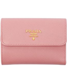 Pink Saffiano Trifold Wallet
