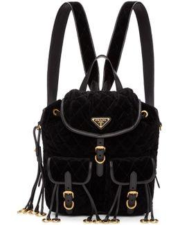 Black Quilted Velvet Backpack