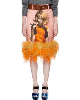 Pink Ostrich Poster Girl Pencil Skirt