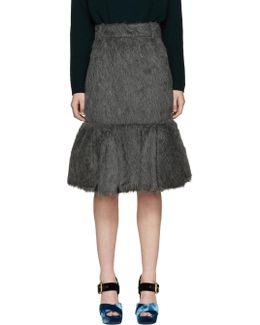 Grey Alpaca Suri Pencil Skirt