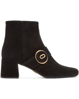 Black Suede Button Boots