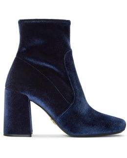 Navy Stretch Velvet Boots