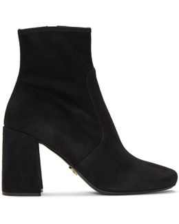 Black Stretch Suede Boots