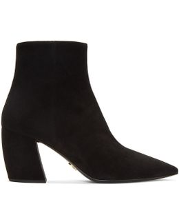 Black Suede Pointed Boots