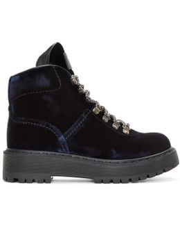 Navy Velvet Hiking Boots