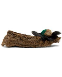 Brown Fur Tassel Loafers