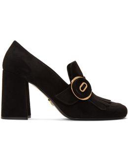 Black Fringed Loafer Heels