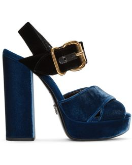 Blue & Black Velvet Platform Sandals