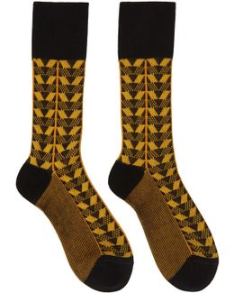 Black & Yellow Geometric Socks