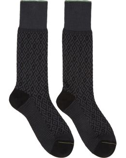 Black & Grey Diamond Socks