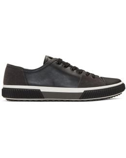 Black Leather & Suede Sneakers
