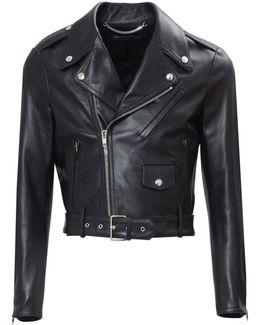 Cropped Biker Leather Jacket