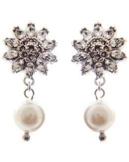 Sterling Silver & Crystal Flower Earrings