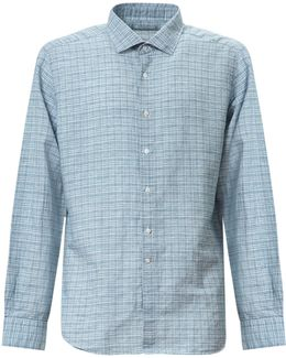 Linen And Cotton Blend Checked Shirt